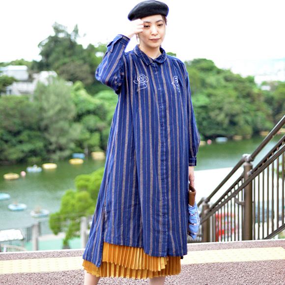 ハナトリ刺繍 シャツワンピース